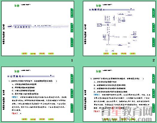 共13张,生物人教版同步课件,另有约3540字的练习。   第6章    细胞的生命历程   一、选择题(每小题4分,共60分)   1.(2009~2010学年度聊城一中高一期中)下图ab表示连续分裂细胞的两个细胞周期,下列叙述不正确的是(  )   A.a和b为一个细胞周期   B.c段结束DNA含量增加一倍   C.遗传物质平分一般发生在d段   D.b和c为一个细胞周期   【答案】 D   2.如图所示光学显微镜下观察到的根尖分生区的细胞,视野内看到最多的细胞是(  )   【答案】 B